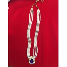 Pearl Necklace with Purple drop Stone