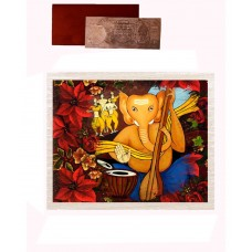 Mesleep Frameless Blue And Yellow Cotton Ganesha Sitar Canvas Painting With Rs 1000 Silver Plated Replica Note