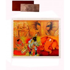 Mesleep Frameless Red Cotton Ganapati Canvas Painting With Rs 1000 Silver Plated Replica Note