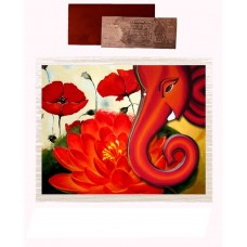 Mesleep Frameless Red Cotton Ganesha With Flower Canvas Painting With Rs 1000 Silver Plated Replica Note